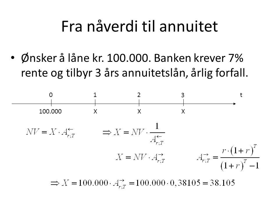 Fra nåverdi til annuitet • Ønsker å låne kr. 100.000. Banken krever 7% rente og tilbyr 3 års annuitetslån, årlig forfall. t0 1 X 2 X 3 X100.000