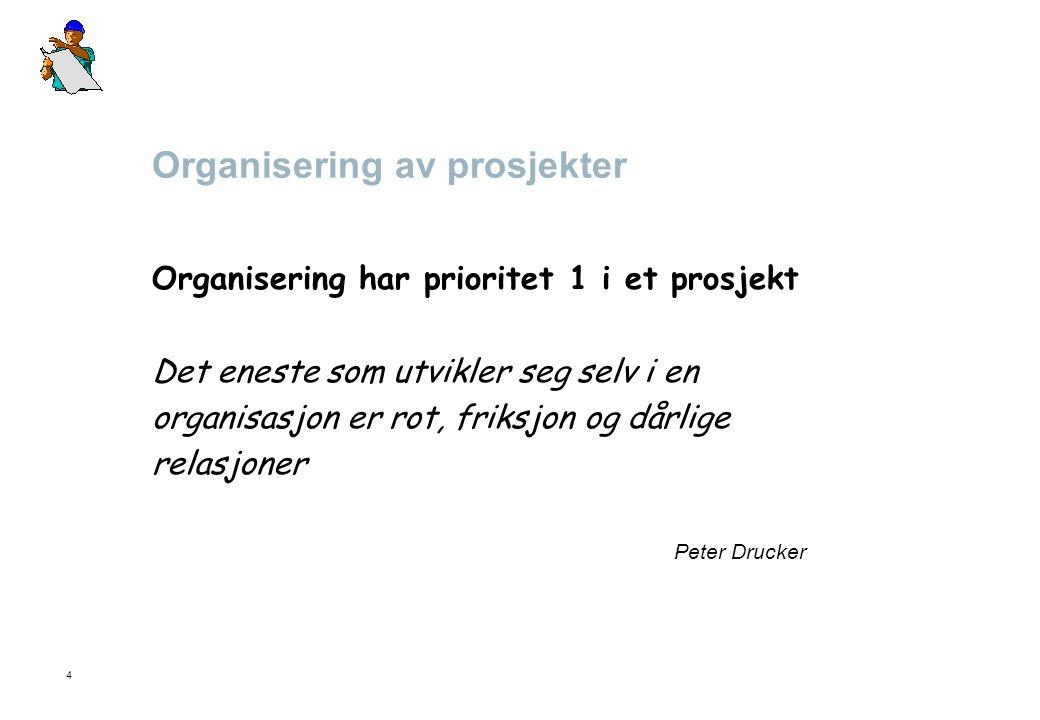 4 Organisering av prosjekter Organisering har prioritet 1 i et prosjekt Det eneste som utvikler seg selv i en organisasjon er rot, friksjon og dårlige