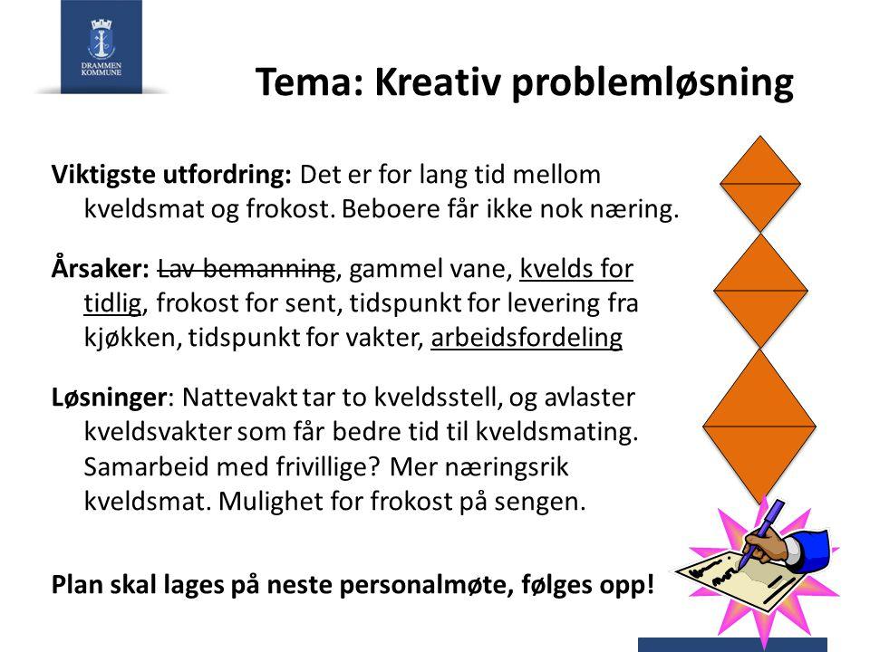 Tema: Kreativ problemløsning Viktigste utfordring: Det er for lang tid mellom kveldsmat og frokost.