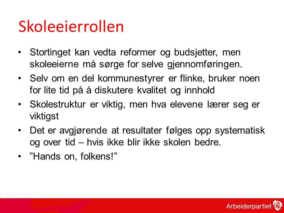 Skoleeierrollen •Stortinget kan vedta reformer og budsjetter, men skoleeierne må sørge for selve gjennomføringen.