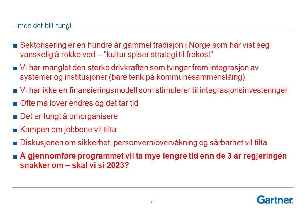 11...men det blit tungt ■Sektorisering er en hundre år gammel tradisjon i Norge som har vist seg vanskelig å rokke ved – kultur spiser strategi til frokost ■Vi har manglet den sterke drivkraften som tvinger frem integrasjon av systemer og institusjoner (bare tenk på kommunesammenslåing) ■Vi har ikke en finansieringsmodell som stimulerer til integrasjonsinvesteringer ■Ofte må lover endres og det tar tid ■Det er tungt å omorganisere ■Kampen om jobbene vil tilta ■Diskusjonen om sikkerhet, personvern/overvåkning og sårbarhet vil tilta ■Å gjennomføre programmet vil ta mye lengre tid enn de 3 år regjeringen snakker om – skal vi si 2023?