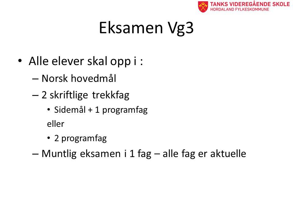 Eksamen Vg3 • Alle elever skal opp i : – Norsk hovedmål – 2 skriftlige trekkfag • Sidemål + 1 programfag eller • 2 programfag – Muntlig eksamen i 1 fag – alle fag er aktuelle