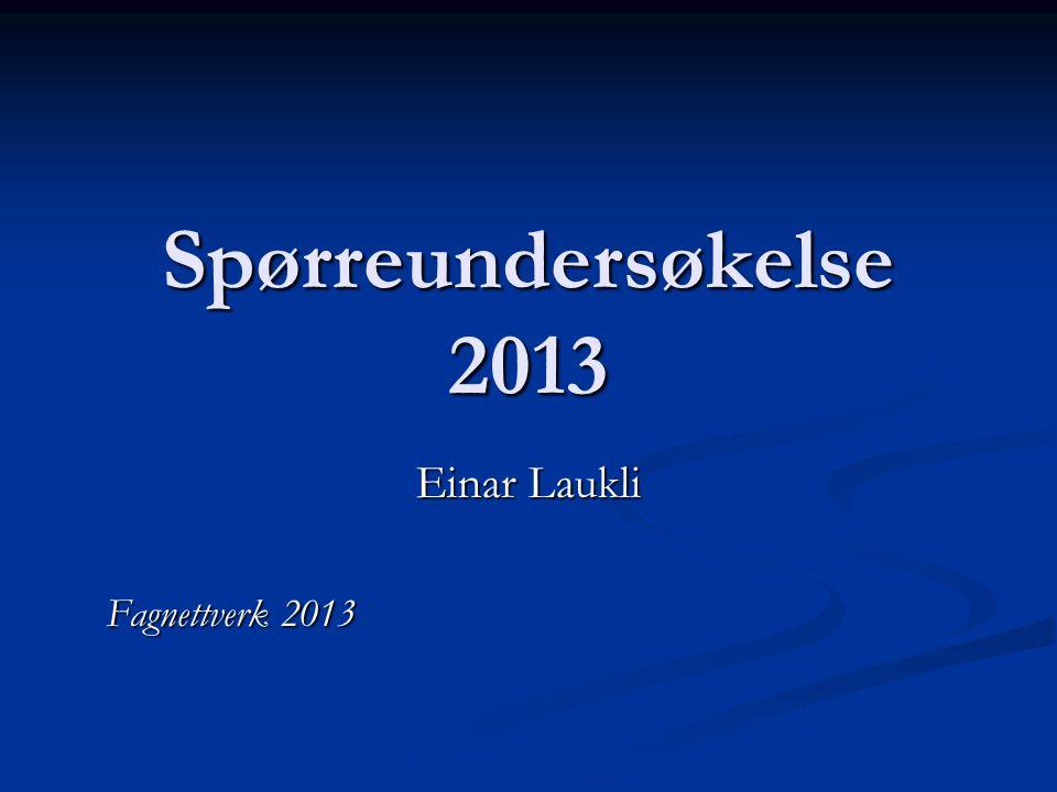 Spørreundersøkelse 2013 Einar Laukli Fagnettverk 2013