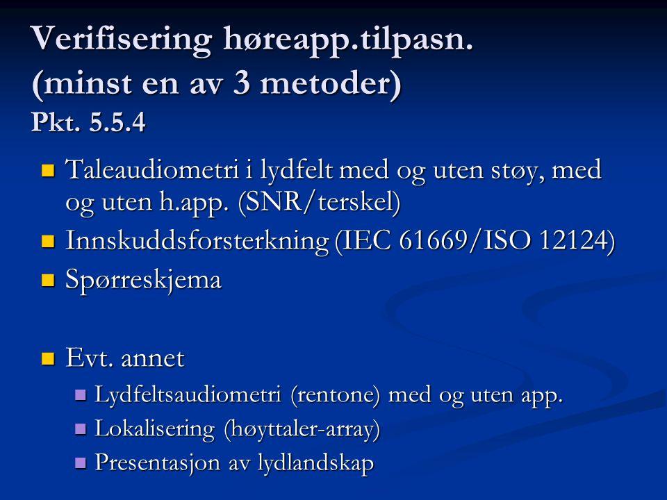 Verifisering høreapp.tilpasn. (minst en av 3 metoder) Pkt.