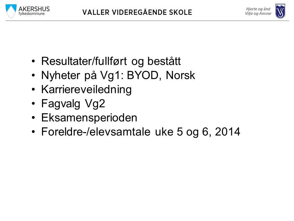 •Resultater/fullført og bestått •Nyheter på Vg1: BYOD, Norsk •Karriereveiledning •Fagvalg Vg2 •Eksamensperioden •Foreldre-/elevsamtale uke 5 og 6, 201