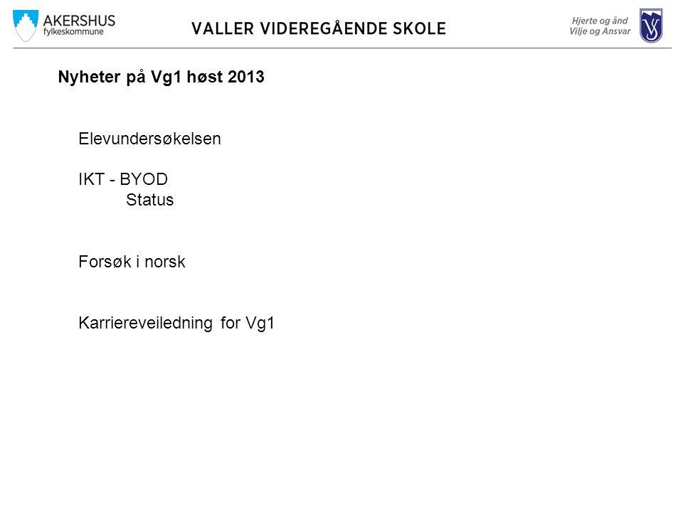Nyheter på Vg1 høst 2013 Elevundersøkelsen IKT - BYOD Status Forsøk i norsk Karriereveiledning for Vg1
