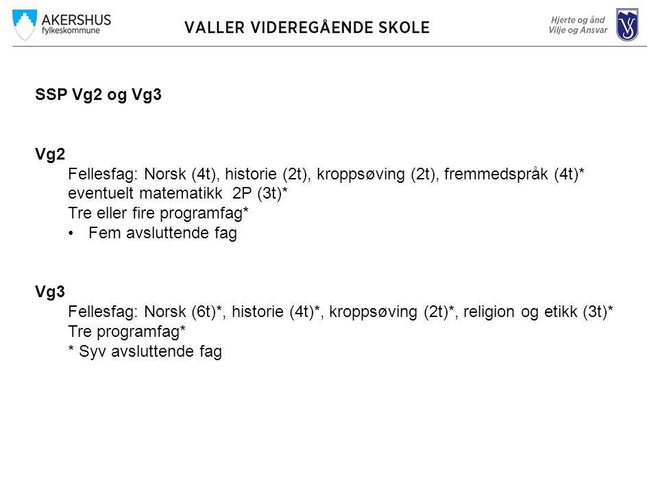 SSP Vg2 og Vg3 Vg2 Fellesfag: Norsk (4t), historie (2t), kroppsøving (2t), fremmedspråk (4t)* eventuelt matematikk 2P (3t)* Tre eller fire programfag*