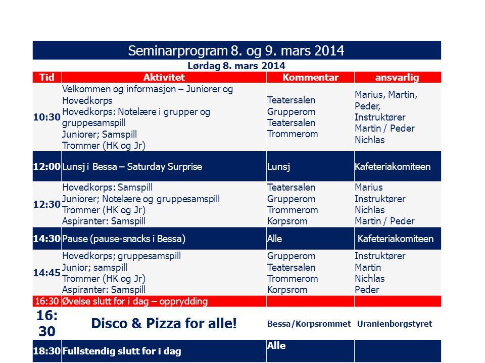 Seminarprogram 8.og 9. mars 2014 Lørdag 8.