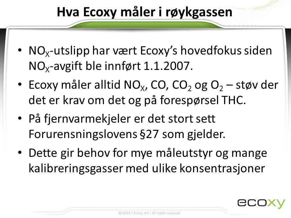 Hva Ecoxy måler i røykgassen • NO X -utslipp har vært Ecoxy's hovedfokus siden NO X -avgift ble innført 1.1.2007. • Ecoxy måler alltid NO X, CO, CO 2