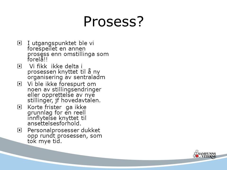 Prosess?  I utgangspunktet ble vi forespeilet en annen prosess enn omstillinga som forelå!!  Vi fikk ikke delta i prosessen knyttet til å ny organis