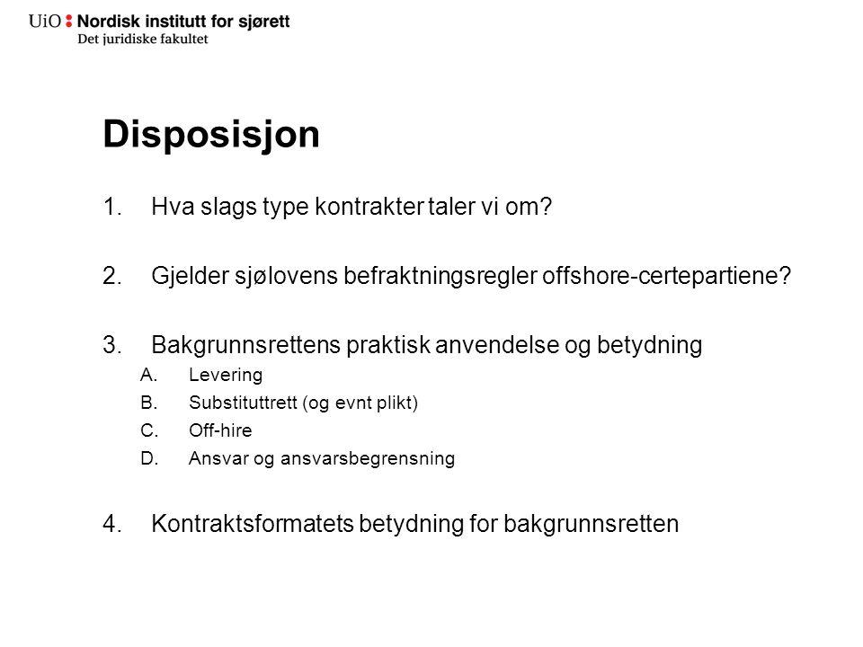 Disposisjon 1.Hva slags type kontrakter taler vi om.