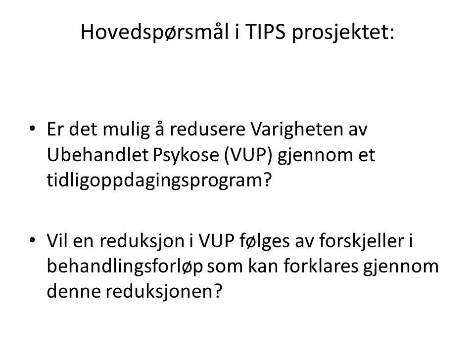 Hovedspørsmål i TIPS prosjektet: • Er det mulig å redusere Varigheten av Ubehandlet Psykose (VUP) gjennom et tidligoppdagingsprogram? • Vil en reduksj
