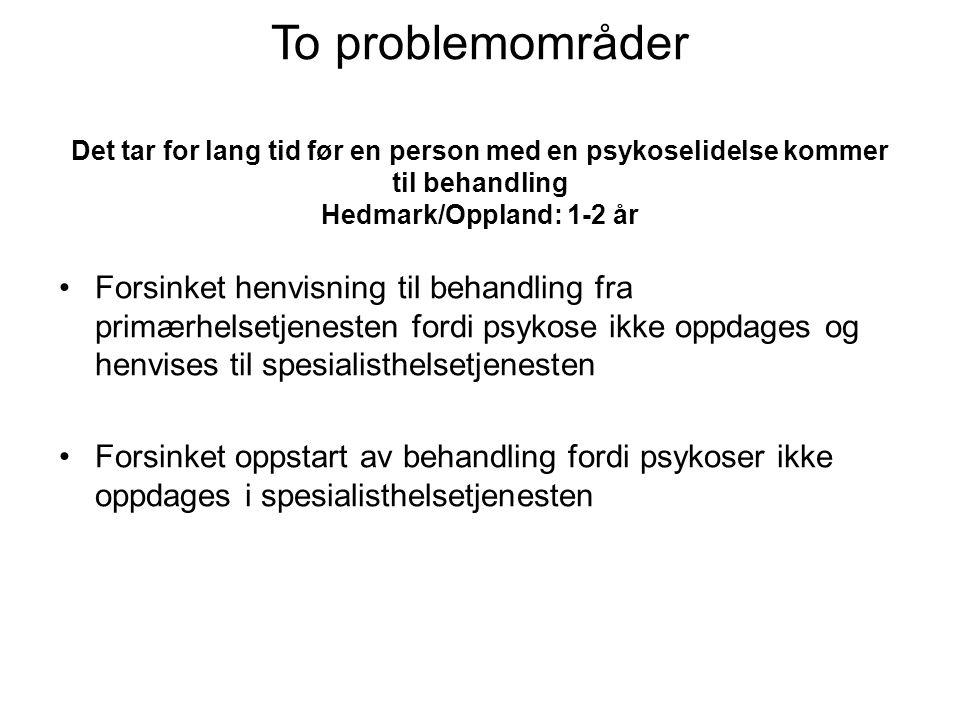 To problemområder Det tar for lang tid før en person med en psykoselidelse kommer til behandling Hedmark/Oppland: 1-2 år •Forsinket henvisning til beh