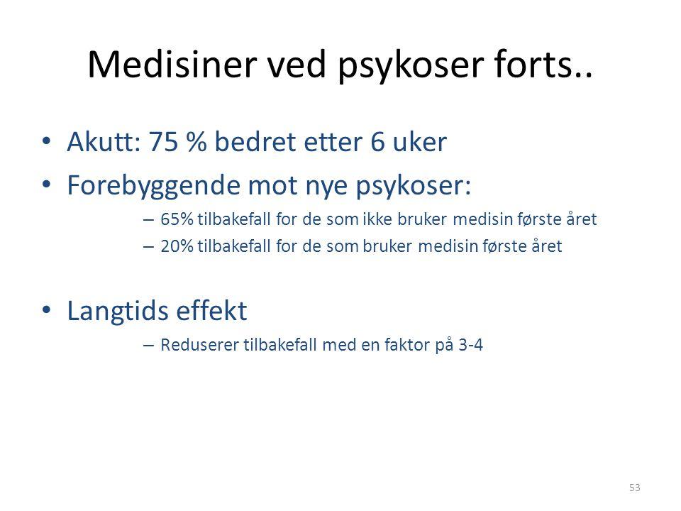 53 Medisiner ved psykoser forts.. • Akutt: 75 % bedret etter 6 uker • Forebyggende mot nye psykoser: – 65% tilbakefall for de som ikke bruker medisin