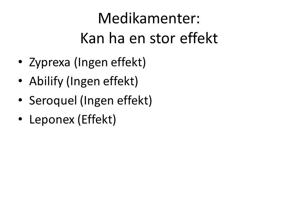 Medikamenter: Kan ha en stor effekt • Zyprexa (Ingen effekt) • Abilify (Ingen effekt) • Seroquel (Ingen effekt) • Leponex (Effekt)