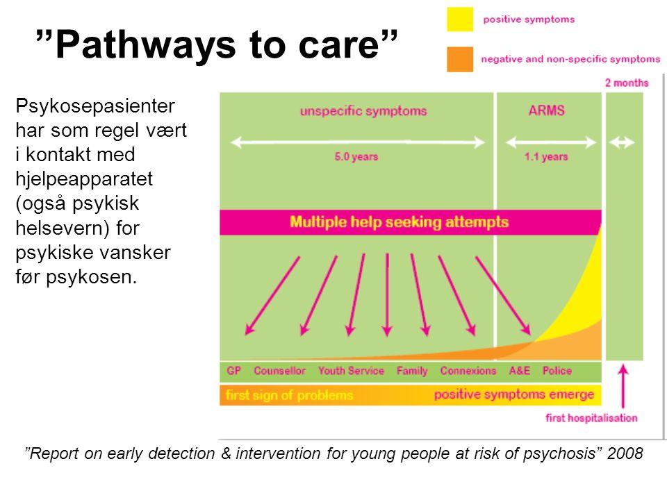 Pathways to care Psykosepasienter har som regel vært i kontakt med hjelpeapparatet (også psykisk helsevern) for psykiske vansker før psykosen.