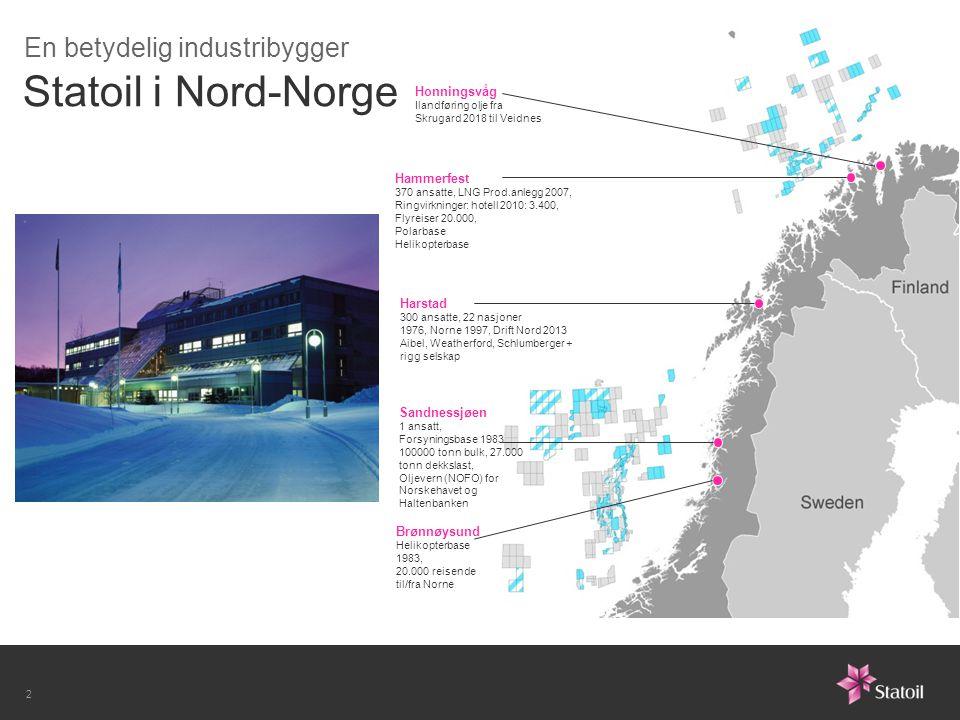 Statoil i Nord-Norge Brønnøysund Helikopterbase 1983, 20.000 reisende til/fra Norne Hammerfest 370 ansatte, LNG Prod.anlegg 2007, Ringvirkninger: hote