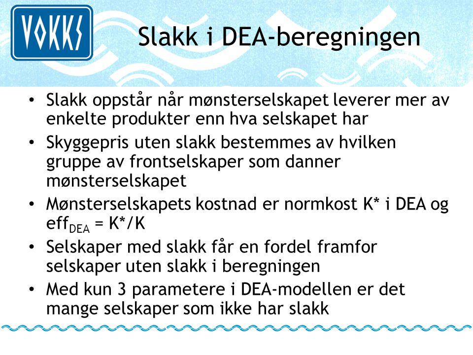 Slakk i DEA-beregningen • Slakk oppstår når mønsterselskapet leverer mer av enkelte produkter enn hva selskapet har • Skyggepris uten slakk bestemmes