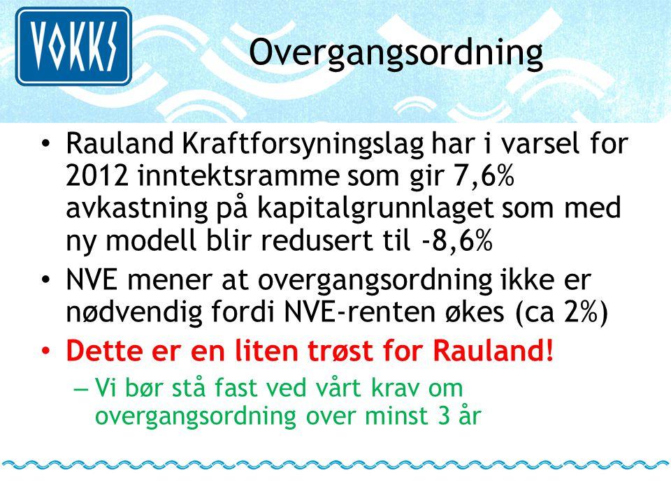 Overgangsordning • Rauland Kraftforsyningslag har i varsel for 2012 inntektsramme som gir 7,6% avkastning på kapitalgrunnlaget som med ny modell blir