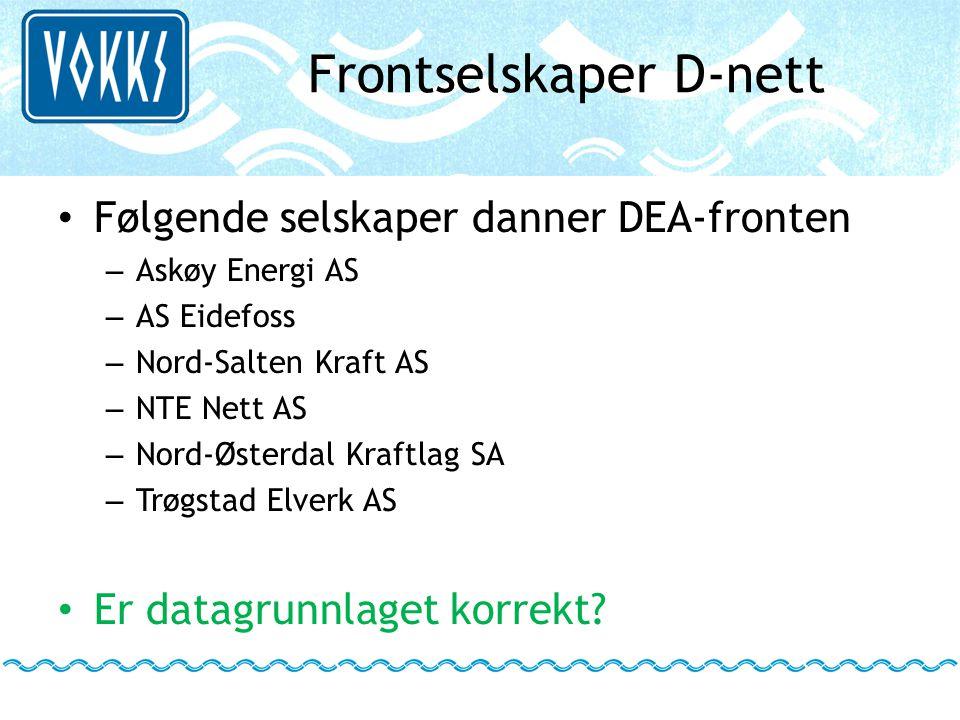 Frontselskaper D-nett • Følgende selskaper danner DEA-fronten – Askøy Energi AS – AS Eidefoss – Nord-Salten Kraft AS – NTE Nett AS – Nord-Østerdal Kra