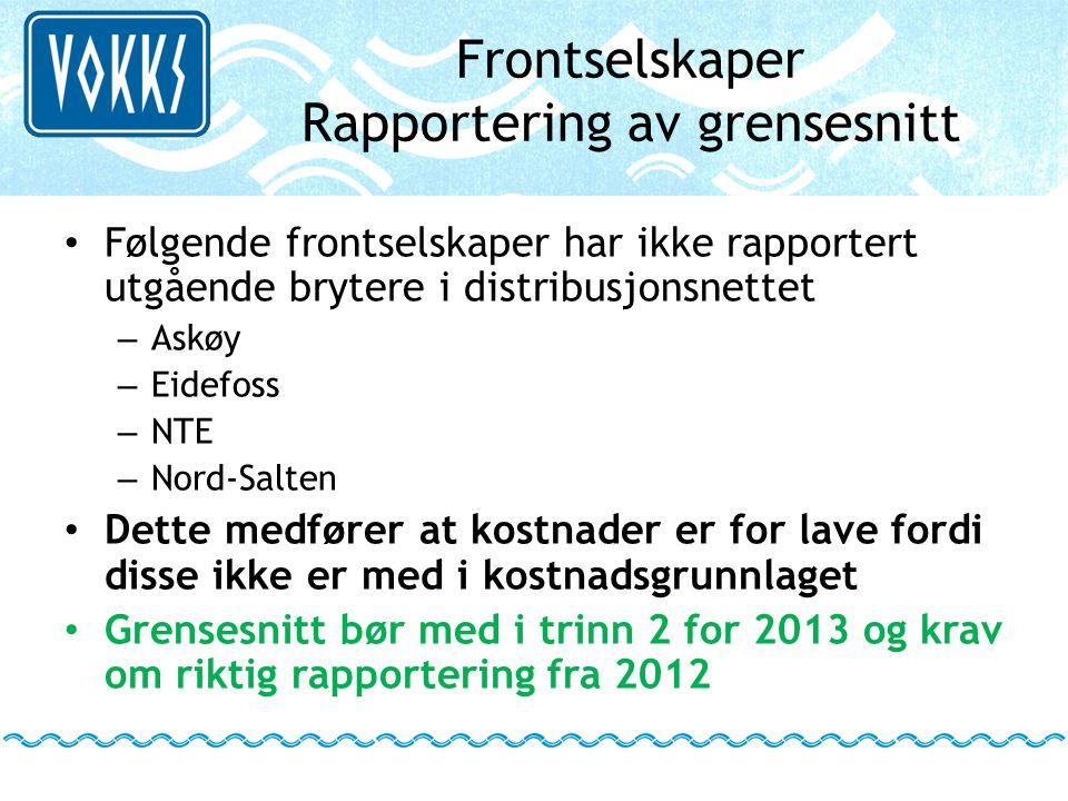 Frontselskaper Rapportering av grensesnitt • Følgende frontselskaper har ikke rapportert utgående brytere i distribusjonsnettet – Askøy – Eidefoss – N