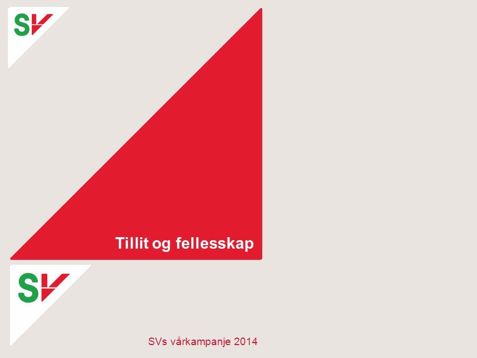 Tillit og fellesskap SVs vårkampanje 2014
