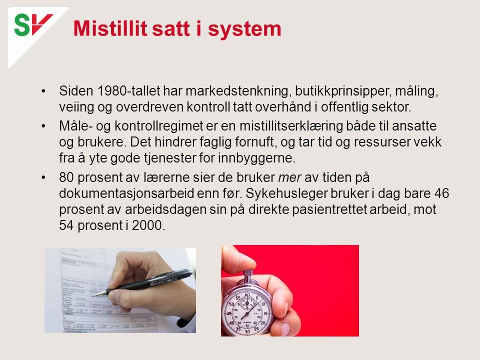 Mistillit satt i system •Siden 1980-tallet har markedstenkning, butikkprinsipper, måling, veiing og overdreven kontroll tatt overhånd i offentlig sekt
