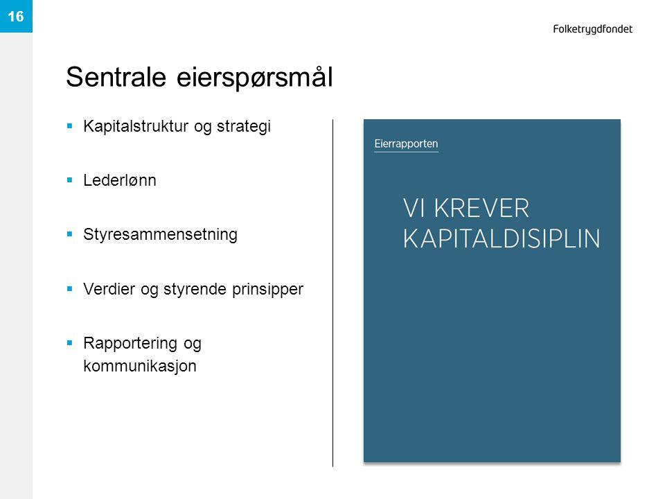 Sentrale eierspørsmål  Kapitalstruktur og strategi  Lederlønn  Styresammensetning  Verdier og styrende prinsipper  Rapportering og kommunikasjon 16