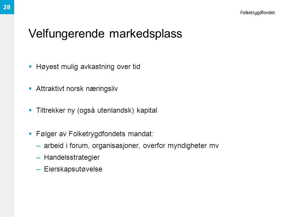 Velfungerende markedsplass  Høyest mulig avkastning over tid  Attraktivt norsk næringsliv  Tiltrekker ny (også utenlandsk) kapital  Følger av Folk