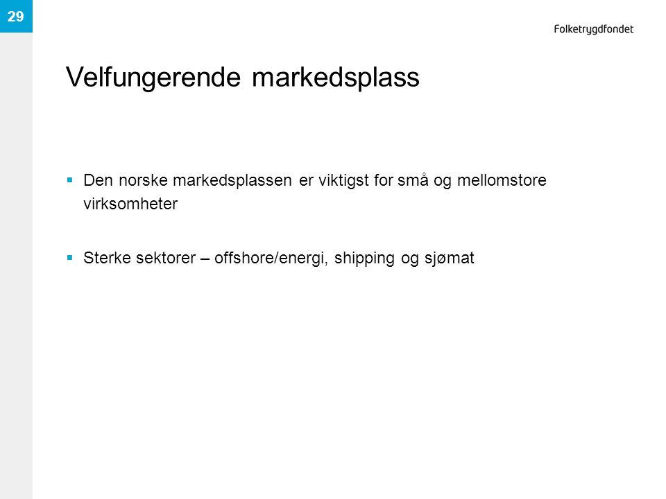 Velfungerende markedsplass  Den norske markedsplassen er viktigst for små og mellomstore virksomheter  Sterke sektorer – offshore/energi, shipping og sjømat 29