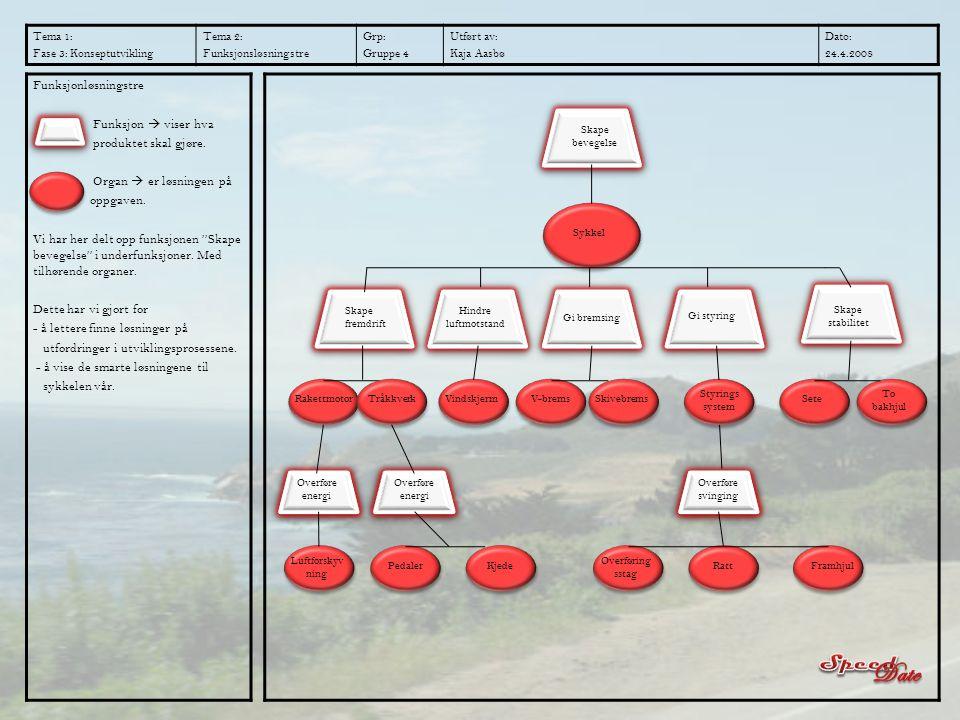 Tema 1: Fase 3: Konseptutvikling Tema 2: Funksjonsløsningstre Grp: Gruppe 4 Utført av: Kaja Aasbø Dato: 24.4.2008 Funksjonløsningstre Funksjon  viser
