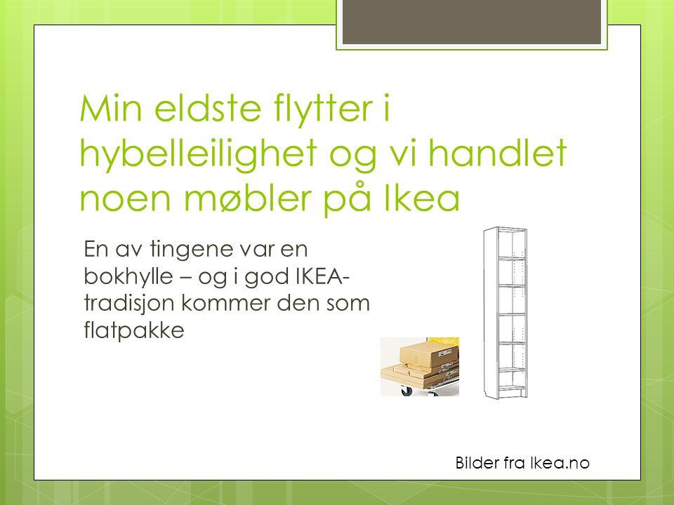 Min eldste flytter i hybelleilighet og vi handlet noen møbler på Ikea En av tingene var en bokhylle – og i god IKEA- tradisjon kommer den som flatpakke Bilder fra Ikea.no