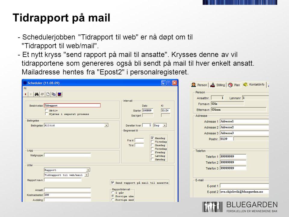Tidrapport på mail - Schedulerjobben