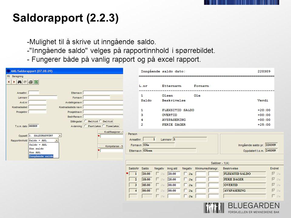 Saldorapport (2.2.3) -Mulighet til å skrive ut inngående saldo. -