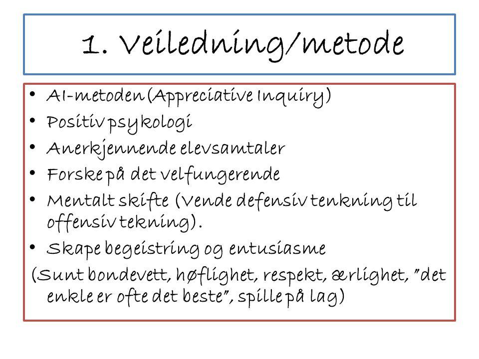 1. Veiledning/metode • AI-metoden(Appreciative Inquiry) • Positiv psykologi • Anerkjennende elevsamtaler • Forske på det velfungerende • Mentalt skift