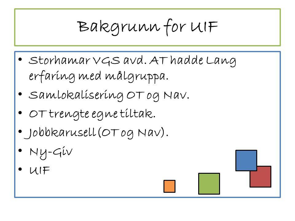Bakgrunn for UIF • Storhamar VGS avd.AT hadde Lang erfaring med målgruppa.