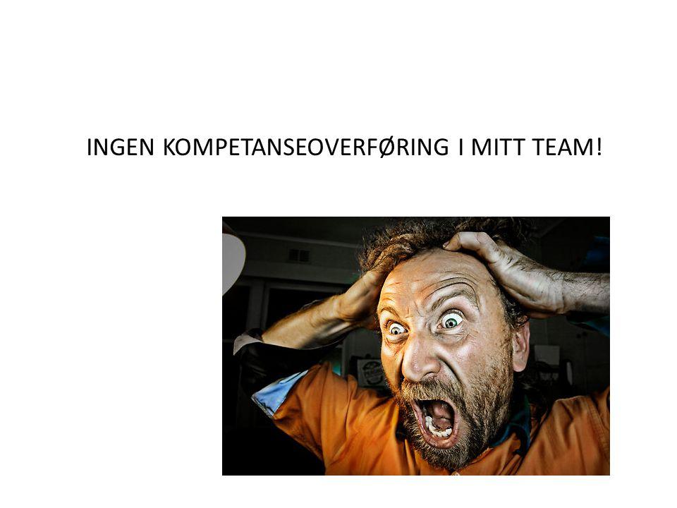 INGEN KOMPETANSEOVERFØRING I MITT TEAM!