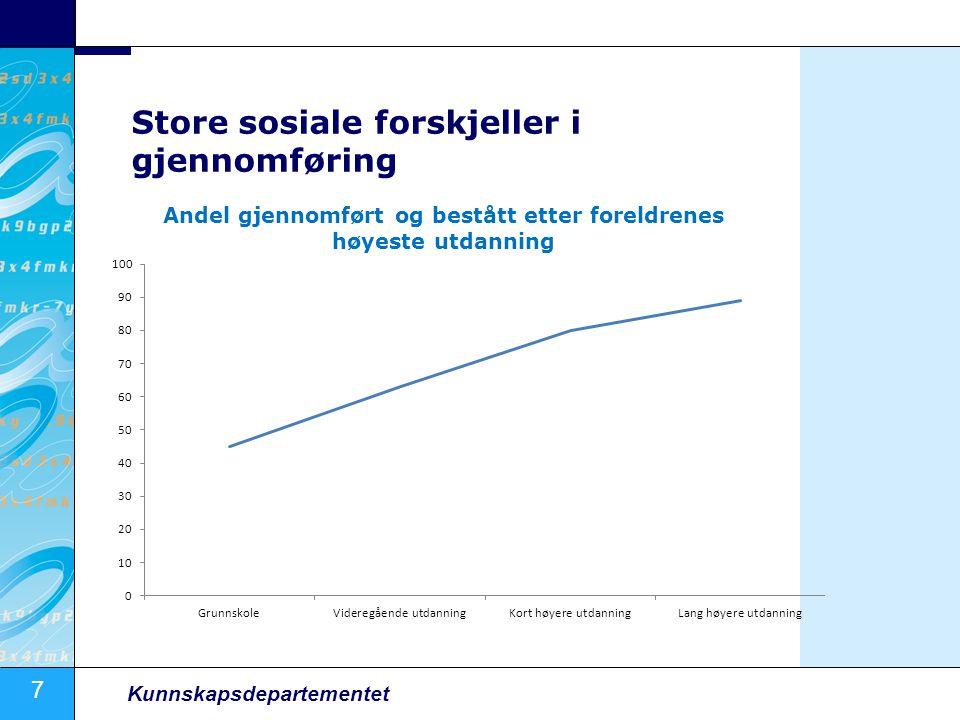 8 Kunnskapsdepartementet Sammenheng uføretrygd og utdanning Kilde: Veien til uføretrygd i Norge, Frischsenteret 10/2006