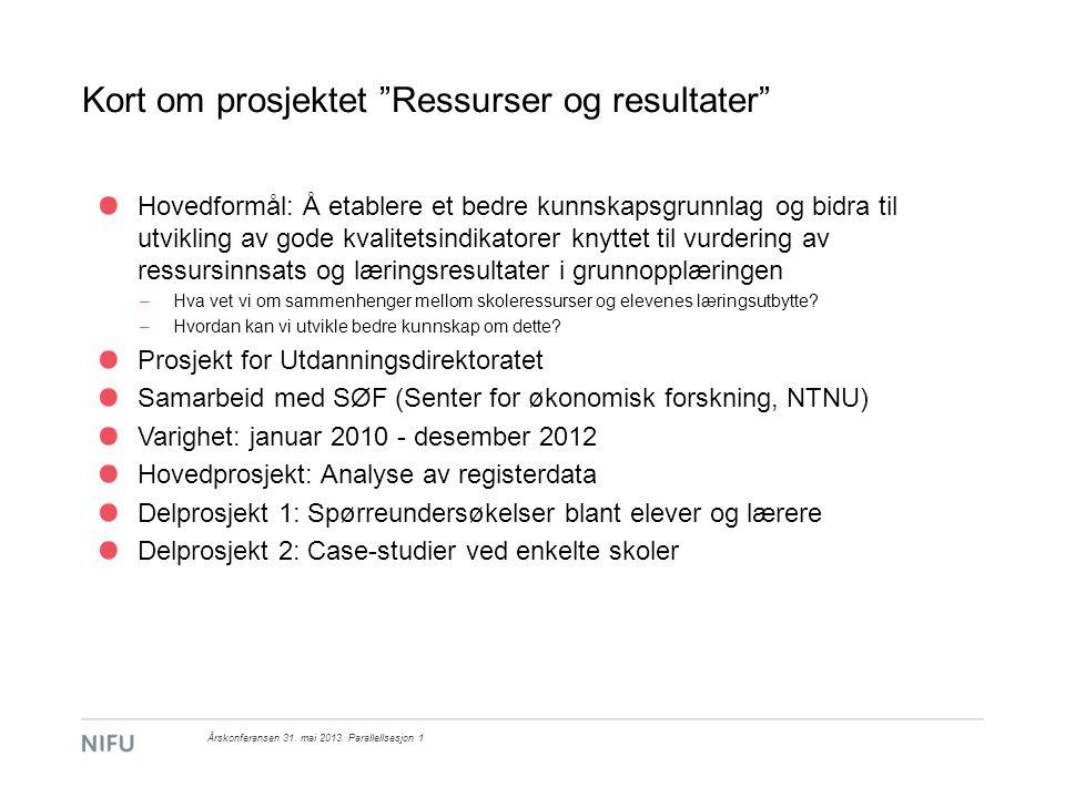 Kort om prosjektet Ressurser og resultater Hva er en kvalitetsindikator.
