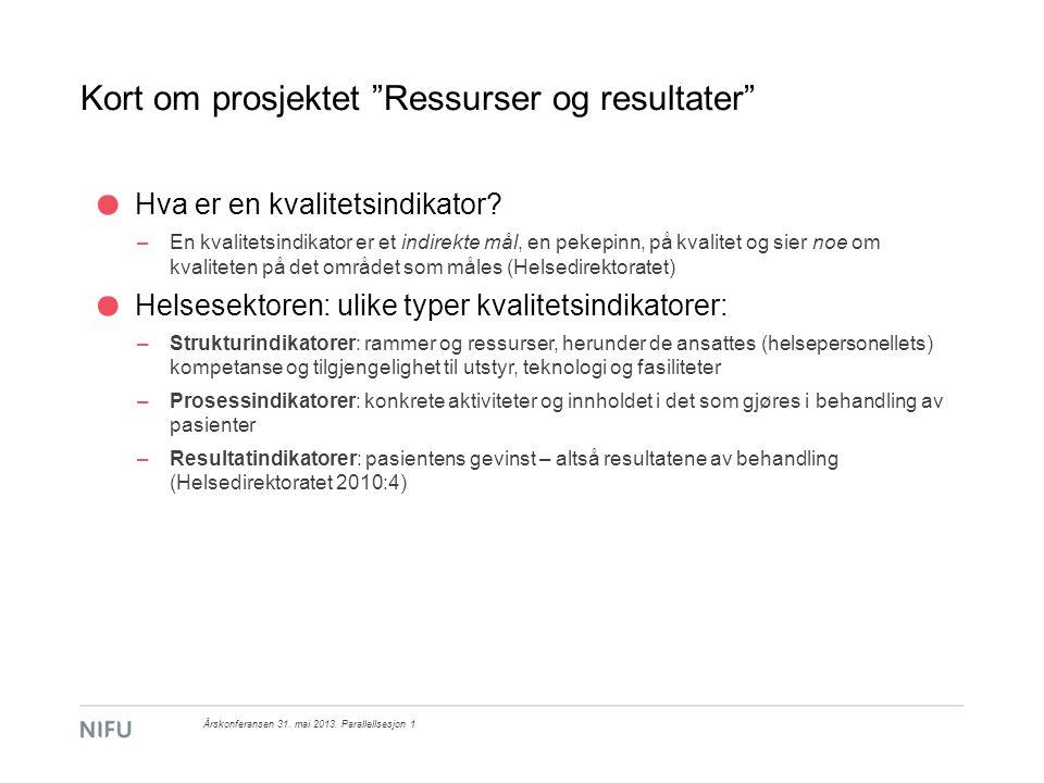Kort om prosjektet Ressurser og resultater Input-prosess-resultat-modell: Årskonferansen 31.
