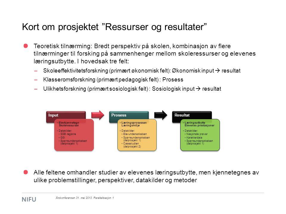 Delprosjekt 2: Casestudie av fire skoler i Oslo Skoler: Utvalg basert på prestasjonsnivå og prestasjonsutvikling Årskonferansen 31.