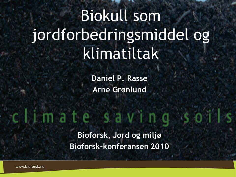 Daniel P. Rasse Arne Grønlund Bioforsk, Jord og miljø Bioforsk-konferansen 2010 Biokull som jordforbedringsmiddel og klimatiltak