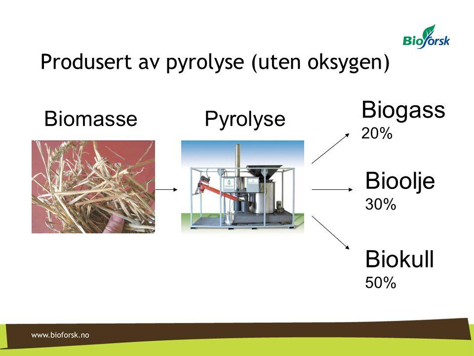 Produsert av pyrolyse (uten oksygen) Biogass 20% Bioolje 30% Biokull 50% BiomassePyrolyse