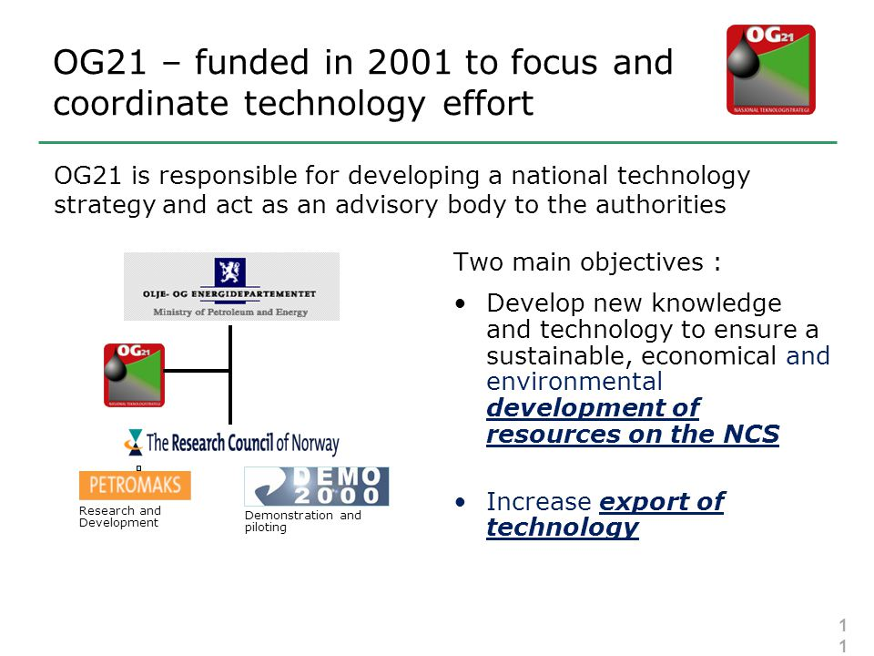 OG21 – funded in 2001 to focus and coordinate technology effort Two main objectives : •Develop new knowledge and technology to ensure a sustainable, economical and environmental development of resources on the NCS •Increase export of technology Research and Development Demonstration and piloting OG21 is responsible for developing a national technology strategy and act as an advisory body to the authorities 11