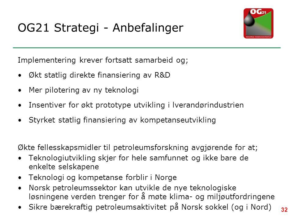 OG21 Strategi - Anbefalinger Implementering krever fortsatt samarbeid og; •Økt statlig direkte finansiering av R&D •Mer pilotering av ny teknologi •In