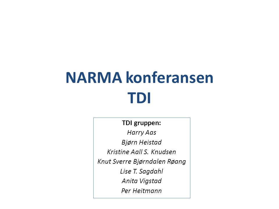 NARMA konferansen TDI TDI gruppen: Harry Aas Bjørn Heistad Kristine Aall S. Knudsen Knut Sverre Bjørndalen Røang Lise T. Sagdahl Anita Vigstad Per Hei
