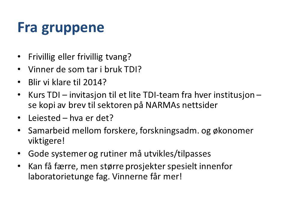 Fra gruppene • Frivillig eller frivillig tvang? • Vinner de som tar i bruk TDI? • Blir vi klare til 2014? • Kurs TDI – invitasjon til et lite TDI-team