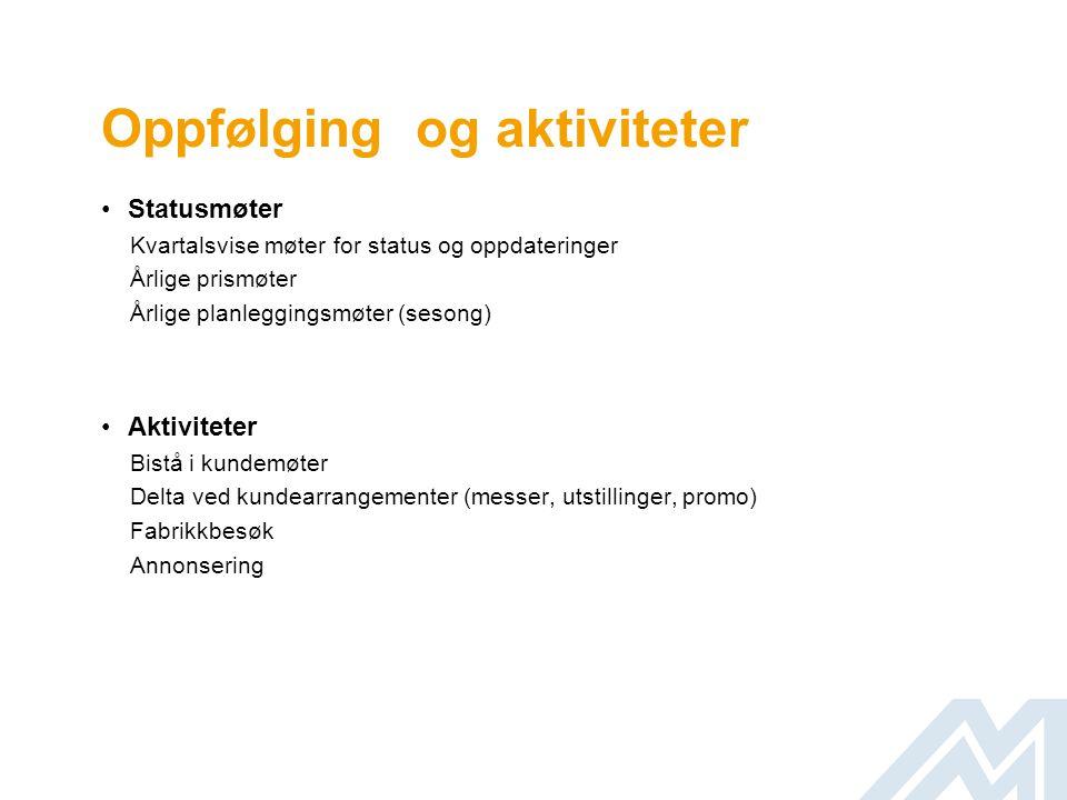 Oppfølging og aktiviteter •Statusmøter Kvartalsvise møter for status og oppdateringer Årlige prismøter Årlige planleggingsmøter (sesong) •Aktiviteter