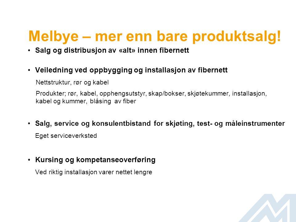 Hva Melbye kan bidra med •Standardisering av fibermateriell Rør, kabel, skap/bokser med mer Vit hva du har i bakken.