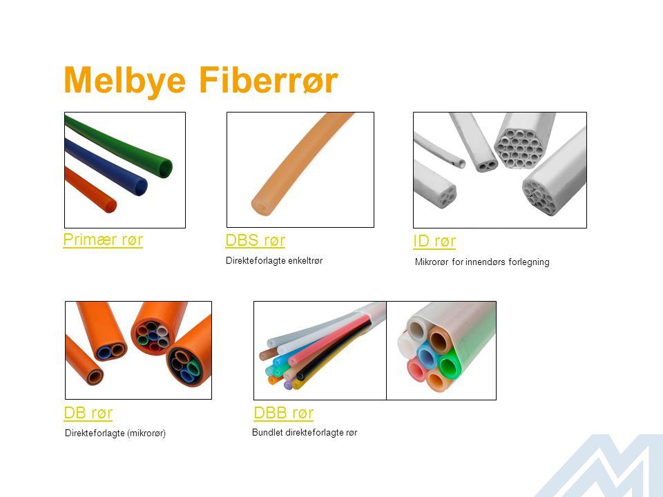 Rør Installasjon kan gjøres med: • Standard kanalisasjon (fiberrør) 50/41 mm, 40/32 mm, 32/28 mm, 25/21 mm, 20/16 mm eller 16/12 mm (Melbye leverer her 25/21 mm) • Mikrokanalisasjon 4/2 mm, 5/3,5 mm, 8/3,5 mm, 7/5,5 mm, 8/4,4 mm, 10/8 mm, 12/8 mm, 12/10 mm, 14/10 mm 16/10 mm.